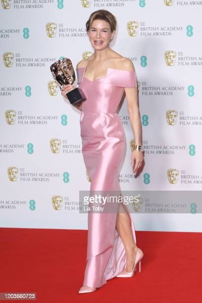 Renee Zellweger poses in the Winners Room during the EE British Academy Film Awards 2020 at Royal Albert Hall on February 02, 2020 in London, England.