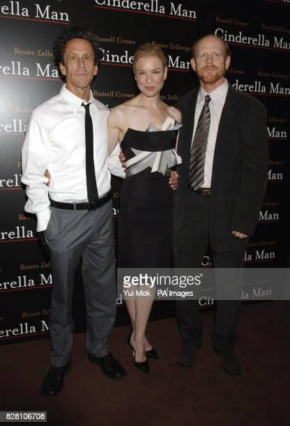 Renee Zellweger poses with producer Brian Grazer and director Ron Howard during a photocall for the UK premiere of 'Cinderella Man' at Teatro in...
