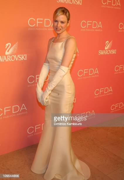 Renee Zellweger wearing Carolina Herrera during The 2003 CFDA Fashion Awards Backstage at The New York Public Library in New York City New York...