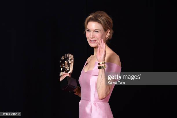 Renee Zellweger, winner of the Bafta for Best Actress, poses in the Winners Room during the EE British Academy Film Awards 2020 at Royal Albert Hall...