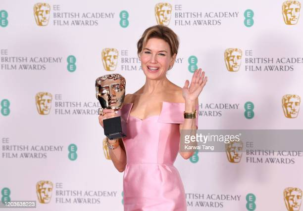 Renee Zellweger winner of the Bafta for Best Actress poses in the Winners Room during the EE British Academy Film Awards 2020 at Royal Albert Hall on...