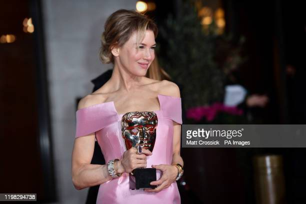 Renee Zellweger with her Best Actress Bafta award attending the after show party for the 73rd British Academy Film Awards