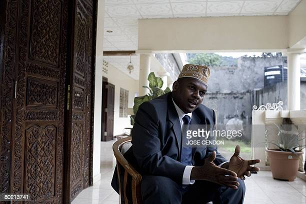 Renegade Anjouan President Mohamed Bacar gives an interview with AFP on March 12 2008 in Hoani near Mutsamudu the capital of Anjouan Senegal's army...