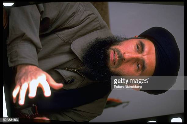 Renegade PM Gulbuddin Hekmatyar speaking leading opposition battling Pres Rabbani's govt forces interviewed at his base in Charasiab Afghanistan