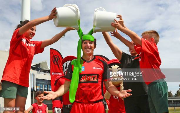 Renegades BBL player Brad Hogg is slimed during a Melbourne Renegades media opportunity at Kardinia Park Stadium on October 24 2017 in Geelong...