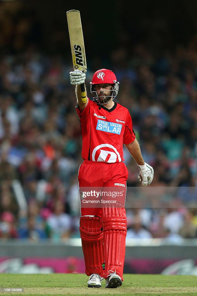 Renegades captain Ben Rohrer celebrates scoring fifty runs during the Big Bash League match between the Sydney Sixers and the Melbourne Renegades at SCG on January 9, 2013 in Sydney, Australia.