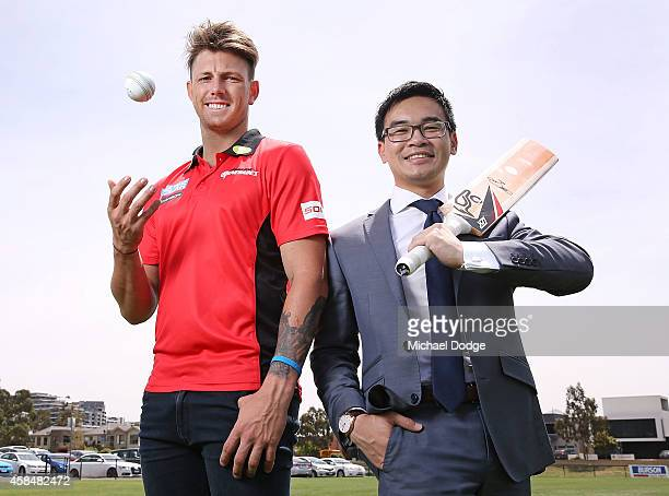 Renegades fast bowler James Pattinson and City of Maribyrnong Mayor Nam Quach pose at the Melbourne Renegades Big Bash League season launch at Merv...