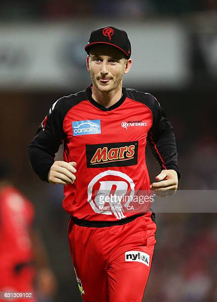 Renegades wicketkeeper Peter Nevill leaves the field after being hit in the head by the ball during the Big Bash League match between the Sydney...