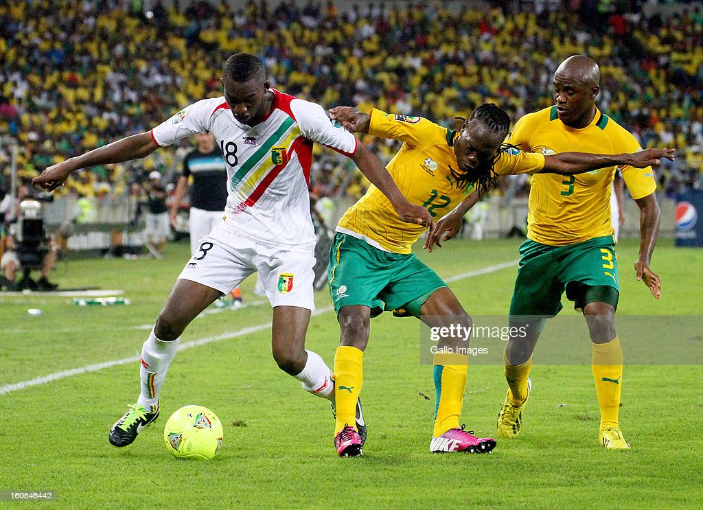 Reneilwe Letsholonyane of South Africa and Samba Sow of Mali during the 2013 African Cup of Nations Quarter Final 2 match between South Afica and Mali from Moses Mabhida Stadium on February 02, 2013 in Durban, South Africa.