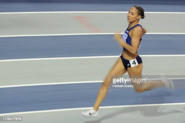 Renelle Lamote of France competes in the semifnals of the women's 800m event on March 2 2019 in Glasgow United Kingdom