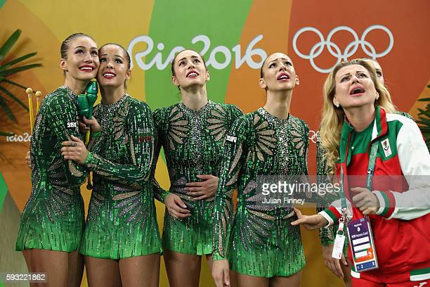 Reneta Kamberova Lyubomira Kazanova Mihaela Maevska Tsvetelina Naydenova and Hristiana Todorova of Bulgaria react after winning bronze during the...