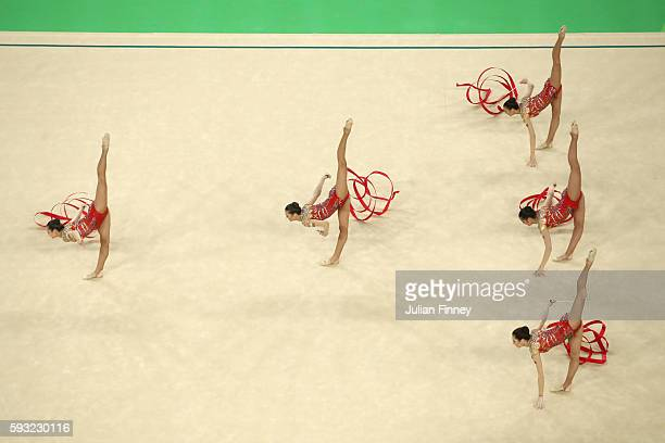 Reneta Kamberova Lyubomira Kazanova Mihaela Maevska Tsvetelina Naydenova and Hristiana Todorova of Bulgaria compete during the Group AllAround Final...