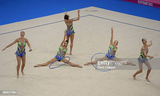 Reneta Kamberova Mihaela Maevska Tsvetelina Stoyanova Hristiana Todorova and Tsvetelina Naydenova of Bulgaria compete in the Group Apparatus Clubs...