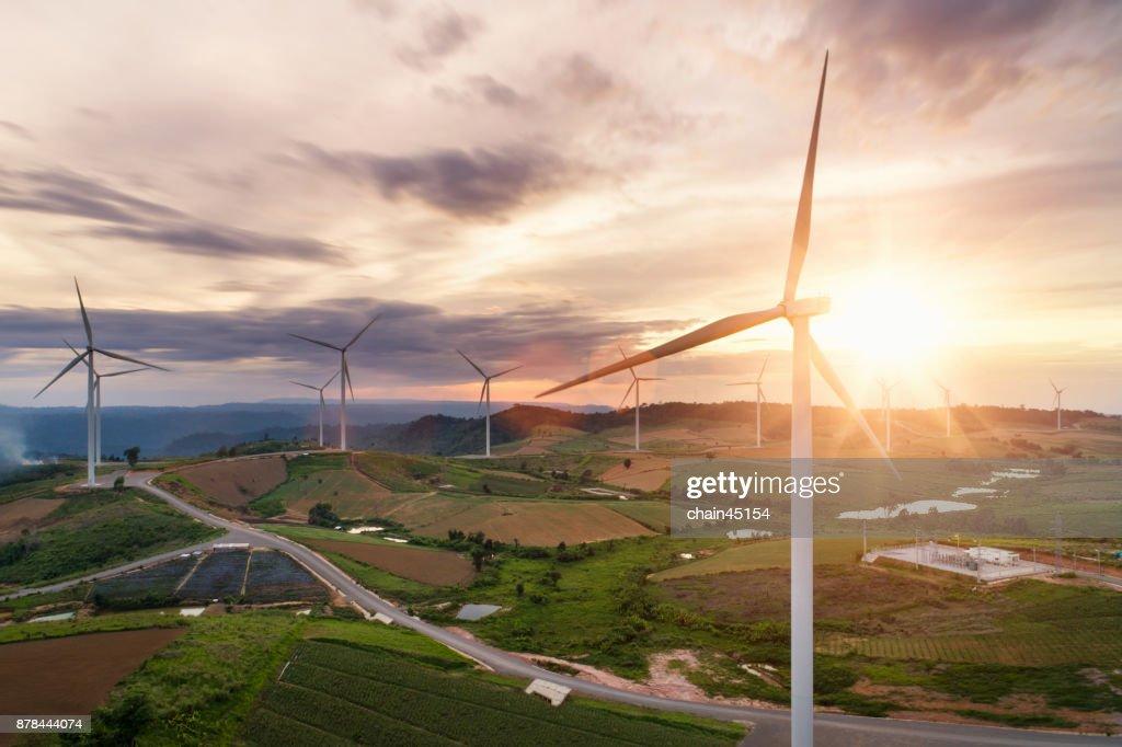 Renewable Energy by wind turbine for green energy world. : Stock Photo