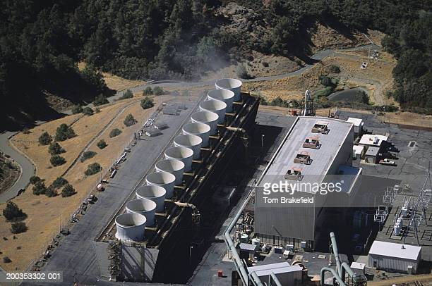 Renewable energy geothermal power plant, The Geysers, CA, USA, (Aerial view)