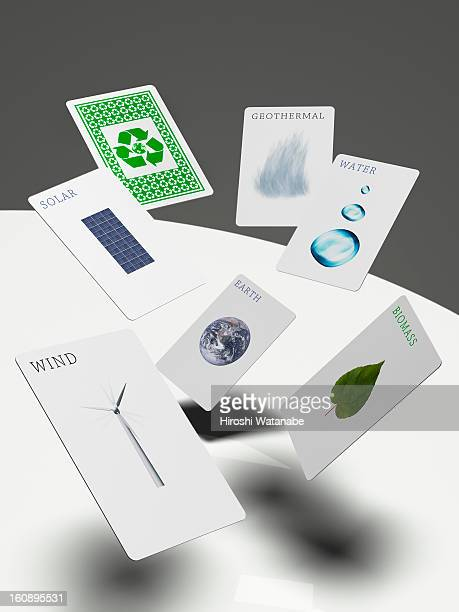 Renewable energy playing card in  mid-air