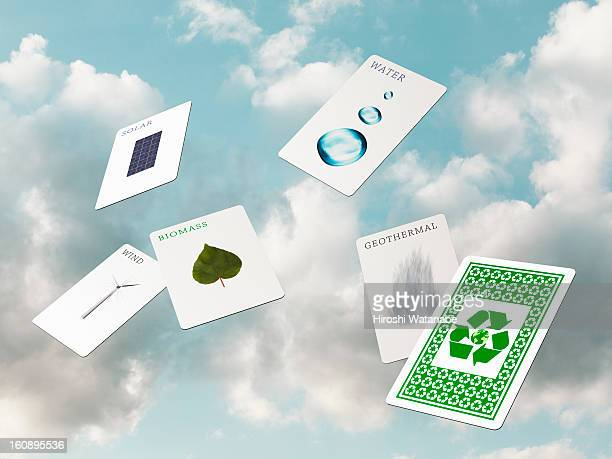 Renewable energy playing card in the sky