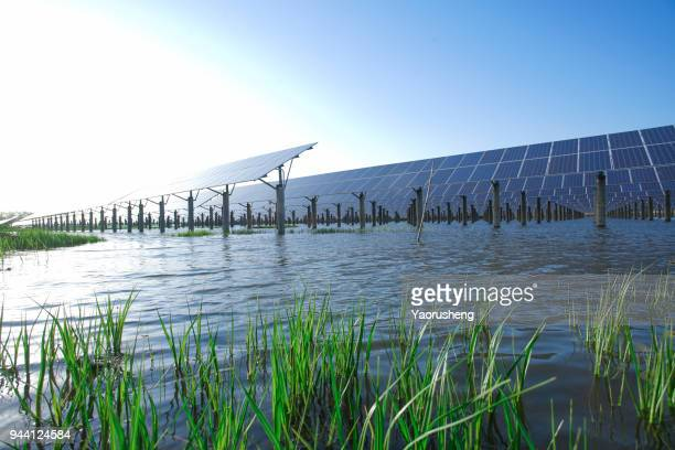 renewable energy power plant producing sustainable clean solar energy from the sun,aerial view of massive solar power plant at jiangsu,china - solar powered station stock pictures, royalty-free photos & images