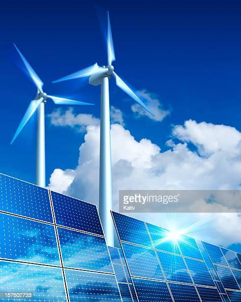 再生可能エネルギー-ソーラーパネルおよび風力タービン(XXL