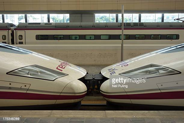 Renfe AVE S112 'Patos' - locomotives used with TALGO coaches. Zaragoza Delicias Station: has original broad and 1435mm high speed lines of the Renfe...
