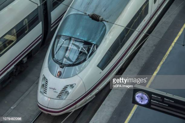 Renfe speed train seen parked at the Madrid Atocha Railway Station 50% of the normal train traffic has been stopped due to the three wise men...