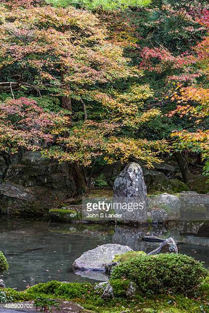 Rengeji is made up of a pond garden with rocks bridge shrubs and moss This peaceful garden features a small but beautiful pond set against a hillside...