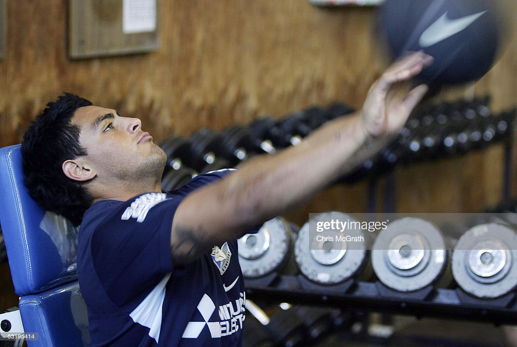 Reni Maitua throws a medicine ball during the Bulldogs weights session held at Belmore Sportsground July 5, 2005 in Sydney, Australia