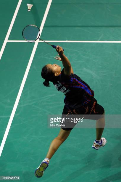 Renna Suwarno of Indonesia plays a forehand in her Womens Singles match against Alice Wu of Australia during day two of the New Zealand Badminton...
