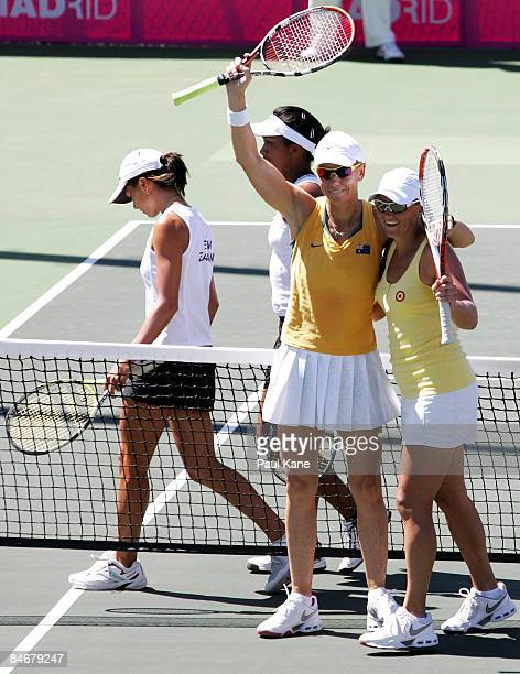 Rennae Stubbs and Casey Dellacqua celebrate defeating Kairangi Vano and Shona Lee of New Zealand during day four of the Fed Cup Asia/Oceania Zone...