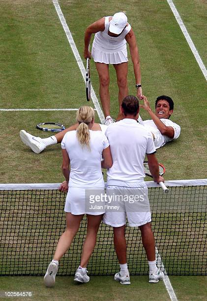 Rennae Stubbs of Australia and Marcelo Melo of Brazil in action during their Mixed Doubles Quarter Final match against Xavier Malisse and Kim...