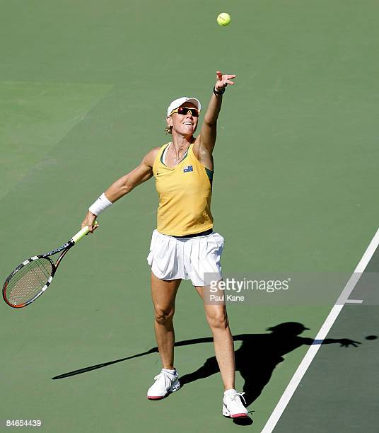Rennae Stubbs of Australia serves during day two of the Fed Cup Asia/Oceania Zone Group 1 2 doubles match between Australia and Thailand at the State...