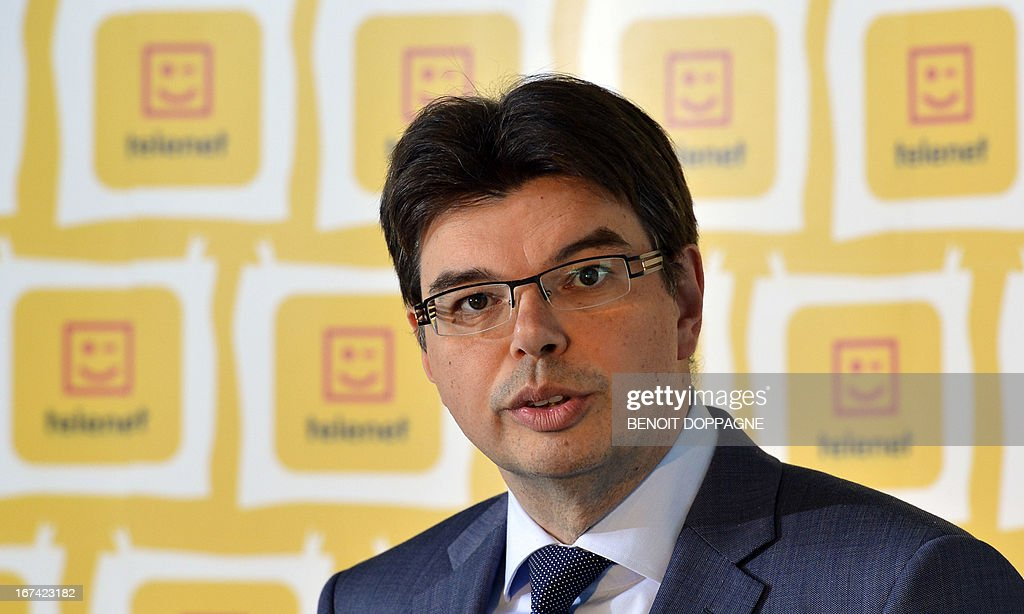 Rennat Berckmoes, CFO of Telenet, speaks at a press conference to announce the results of the 1st Quarter of 2013 of Belgian telecom group Telenet, at the Telenet headquarters in Mechelen, on April 25, 2013.