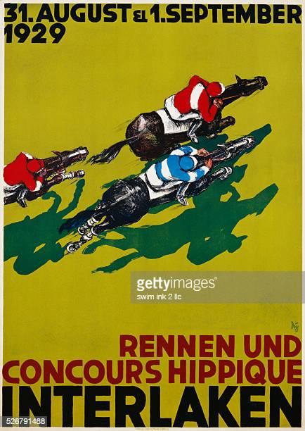 Rennen und Concours Hippique Interlaken Horse Racing Poster
