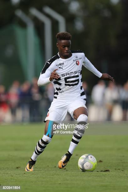 Rennes' Adama Diakhaby drives the ball during the French L1 football friendly match between Caen and Rennes on July 22 2017 in Vire northwestern...