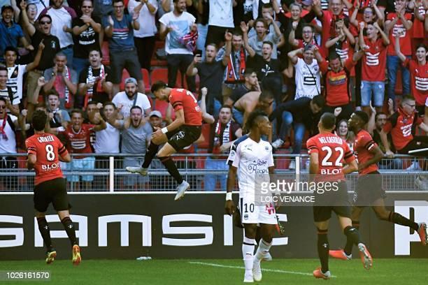 Rennes' Algerian defender Ramy Bensebaini celebrates after scoring a goal during the French L1 football match Rennes vs Bordeaux, on September 2,...