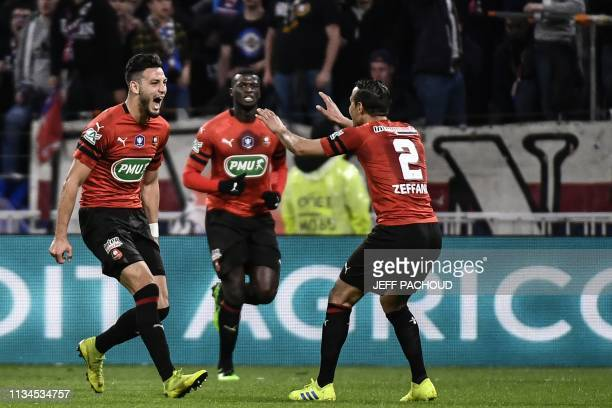 Rennes' Algerian defender Ramy Bensebaini celebrates after scoring a goal during French Cup semifinal football match between Olympique Lyonnais and...