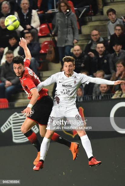 Rennes' Algerian defender Ramy Bensebaini vies with Metz's Spanish defender Ivan Balliu during the French L1 Football match between Rennes and Metz...