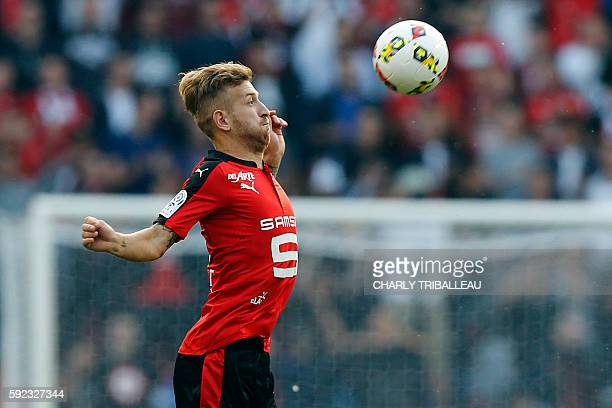 Rennes' Brazilian forward Pedro Henrique dribbles during the French L1 football match between Stade Rennais FC and AS Nancy Lorraine on August 20...