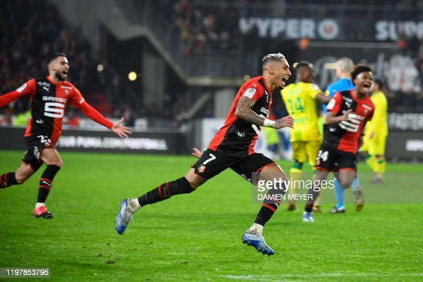 Rennes' Brazilian forward Raphinha celebrates after scoring a goal during the French Ligue 1 football match between Stade Rennais and FC Nantes at...