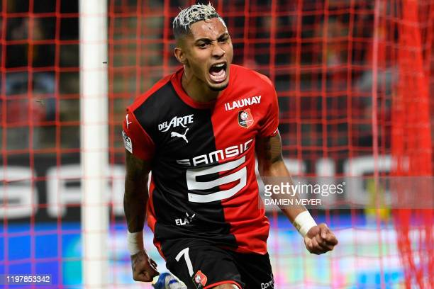 Rennes' Brazilian forward Raphinha celebrates after scoring during the French Ligue 1 football match between Stade Rennais and FC Nantes at the...