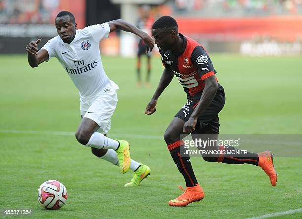 Rennes' Cameroonese forward PaulGeorges Ntep de Madiba vies for the ball with Paris' French midfielder Blaise Matuidi during the French L1 football...