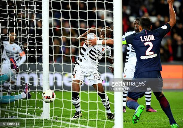 Rennes' Cape Verdean midfielder Gelson Fernandes looks at the ball going into his team's goal during the French L1 football match between Paris...