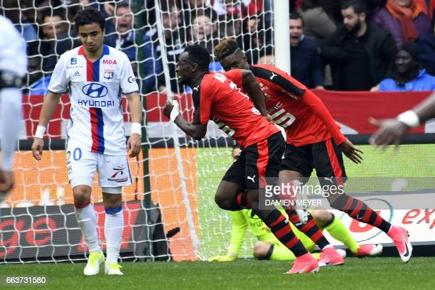 Rennes' Congolese forward Firmin Mubele Ndombe celebrates after scoring a goal during the French L1 football match between Rennes and Lyon on April 2...