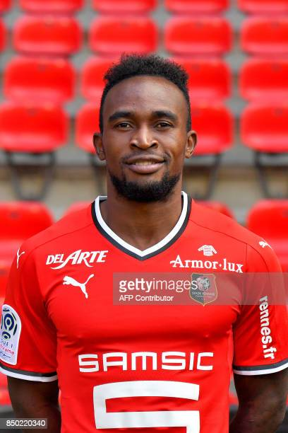 Rennes' Congolese forward Firmin Mubele Ndombe poses during the official presentation of the French L1 football Club Stade Rennais FC on September 19...