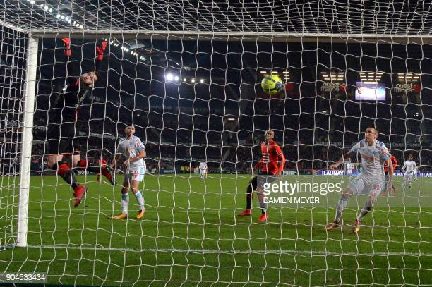 Rennes' Czech goalkeeper Tomas Koubek concedes a goal during the French L1 football match Rennes vs Marseille on January 13 2018 at the Roazhon park...