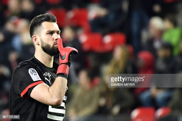 Rennes' Czech goalkeeper Tomas Koubek gestures during the French L1 football match between Rennes and Angers on January 20 2018 at the Roazhon park...