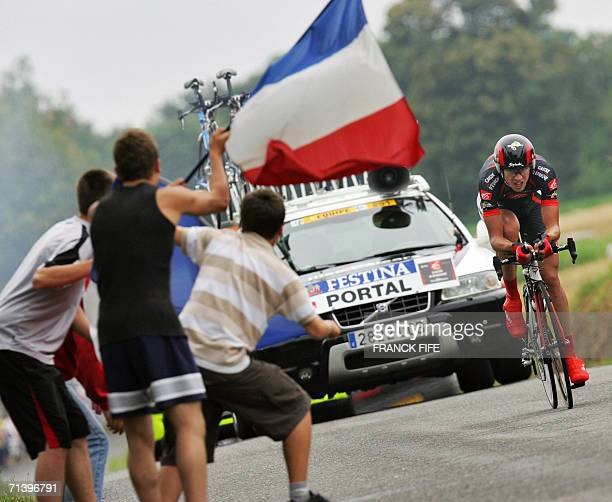 France's Nicolas Portal rides during the seventh stage of the 93rd Tour de France cycling race a 52 km individual timetrial from SaintGregoire to...
