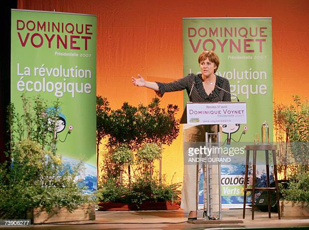 French ecologist presidential candidate of the Green Party Dominique Voynet delivers a speech during a campaign meeting 17 April 2007 in the western...