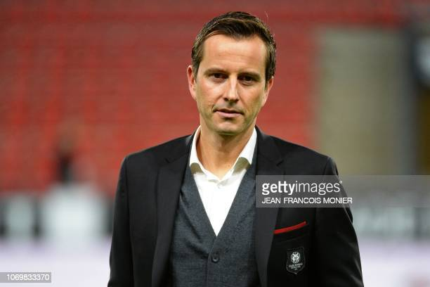 Rennes' French coach Julien Stephan looks on before the French L1 football match between En Avant Guingamp and Amiens SC at the Roudourou stadium in...