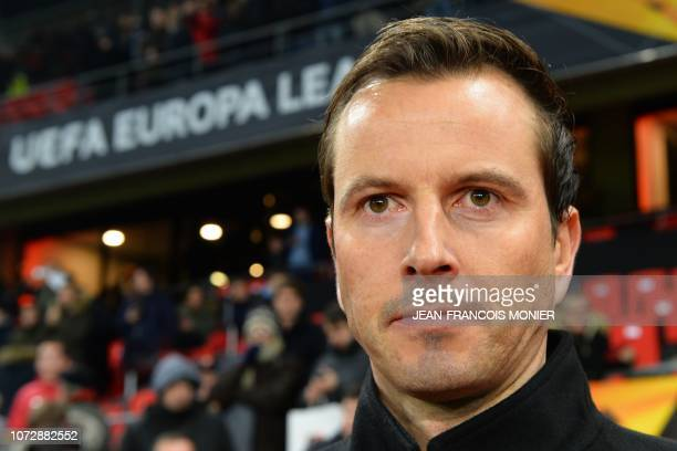 Rennes' French coach Julien Stephan looks on before the UEFA Europa League Group K football match between Stade Rennais Football Club and FC Astana...